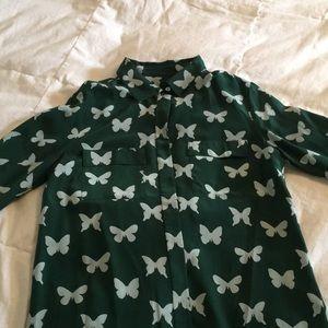 J Crew silk butterfly button down blouse